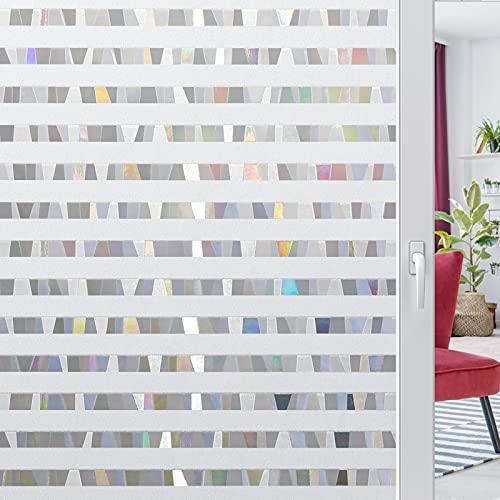 rabbitgoo Fensterfolie 3D Dekorfolie Selbstklebend Sichtschutzfolie Blickdicht Klebefolie Statisch Haftend Fenster Folie Anti-UV 44.5 X 200CM