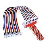 ARCELI RPi GPIO Breakout Board + Cable de Cinta + Ensamblado Tipo T Adaptador GPIO 20 cm FC40 40 Pines Cable Plano de Cinta para Raspberry Pi 3 2 Modelo B & B + SC05
