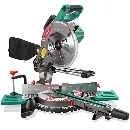 Compound Miter Saw with Laser, HYCHIKA 15 Amp 10 inch Single Bevel Sliding Miter Saw with 40T TCT Saw Blade,3m Cable, Extenable Table, 4500 RPM Crosscutting Miter Saw