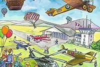 YTJBEIクロスステッチ 大人のためのクロスステッチキット 漫画の世界の飛行機 40x50cm 11CT番号別刺繍キット手作りキットパンチ針刺繍DIY初心者向け手作りスターターキット