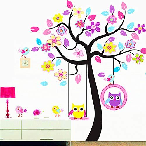 Animal Jungle Tree Wall Decal Nursery Kids Wall Decor Owl Wall Decals Jungle Theme Wall Mural Vinyl Art Wall Stickers for Nursery Kids Room Decor (Owl Decor)