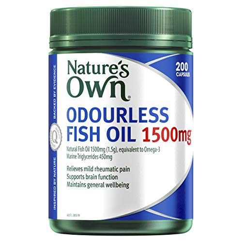 Nature's Own Odourless Fish Oil 1500mg - Naturally-Derived Omega-3 - Maintains General Health and Wellbeing, 200 Capsules