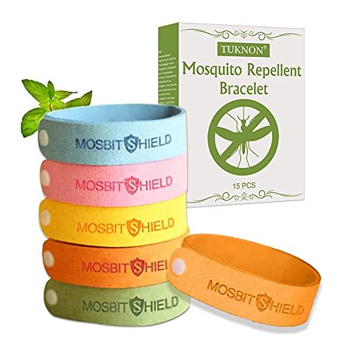 TUKNON Braccialetto Antizanzare, Bracciale Repellente Antizanzare, Mosquito Repellent Bracelet, Braccialetti Zanzare per Adulti e Bambini, Regolabile, 15 Pezzi