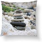 Swdream Fundas de Almohada Fundas de Almohada Un Lado 18x18 Pulgadas Piedras Zen...