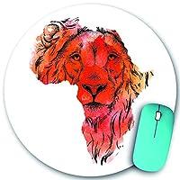 KAPANOU ラウンドマウスパッド カスタムマウスパッド、アフリカのベクトルマップでライオンの頭を描く民族の手描き、PC ノートパソコン オフィス用 円形 デスクマット 、ズされたゲーミングマウスパッド 滑り止め 耐久性が 200mmx200mm
