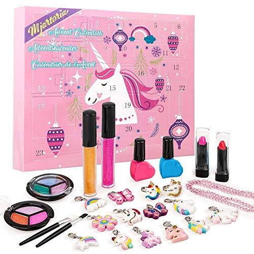 MJartoria Advent Calendar Makeup 2020 for Girls Christmas Countdown Advent Calendar for Girls, Women, Teens Kids Beauty Makeup Lipstick, Butterfly Necklace Bracelet Jewelry Unicorn Gifts
