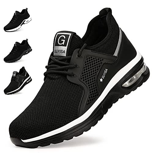 Zapatos de Seguridad Hombre Mujer Zapatillas de Trabajo con Punta de Acero Ligeras Transpirables Calzado de Seguridad con Colchón de Aire Calzado de Industrial y Deportivos Unisexo Negra A EU 46