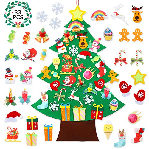 Felt Christmas Tree - DIY Wall Christmas Tree with 33 Pcs Detachable Ornaments, Wall Decor with Hanging Rope, Home/Door Decoration