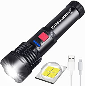 USB Rechargeable LED Flashlight DARKBEAM T002 Super Bright XHP50 3000 Lumen Flash Light Lights Tactical Handheld Zoomable for Hiking, Biking, Outdoor Activity Patrol, Home, Emergency