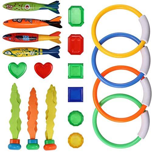 WENTS Pool Tauchen Spielzeug Set Tauchringe Tauchen Toypedo Tauchstöcke Aquatic Dive Balls Schwimmen Fisch Schwimmbad Spielzeug für Kinder 19 STÜCKE