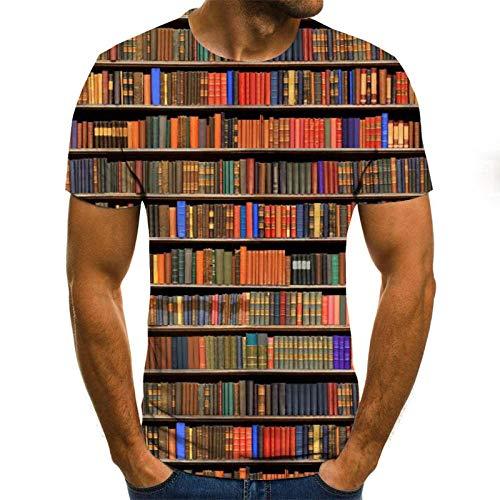 Moda Manga Corta Tees Round Neck Top Camisa Book Sea T-Shirt Hombre...