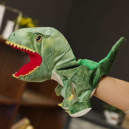 Syina Simulación dinosaurio marioneta de peluche para niños y adultos, con boca móvil de peluche, juguete para cuentos preescolares, juego de rol, teatro de muñecas