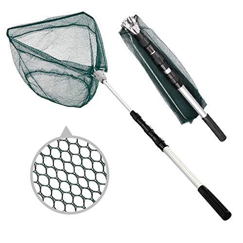 BoloShine Kescher Angeln Faltbarer, Teleskop-Kescher 190cm, Alu Angelkescher mit Faltbare Fischernetz Unterfangkescher für Erwachsene und Kinder (Dreieck)
