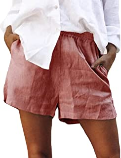 UUGYE Women's Waist Elastic Solid Linen Cotton Casual Shorts Summer Shorts with Pockets