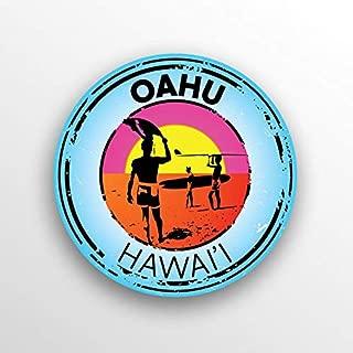 JMM Industries Oahu Hawai'i Beach Vinyl Decal Sticker Car Window Bumper 2-Pack 3-Inch Round Premium Quality UV Protective Laminate PDS1505