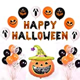 XIAOTING Partido decoración de Halloween Set, bandera del feliz Halloween con la araña, murciélago, gato Negro, calabaza fantasma Foil Balloon letras del globo de látex de Halloween suministros Bar De