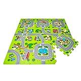 Leo & Emma Jeux de Rue Tapis Puzzle Tapis de Sol Puzzle, Circuit de trafic, 9 pièces a 30 x 30cm (Ville)