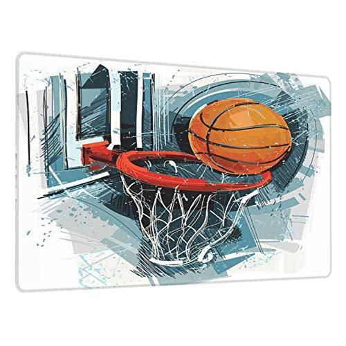Alfombrilla Gaming Artes de Baloncesto Base de Goma Antideslizante,Adecuada para Jugadores,PC y portátil-80x30cm