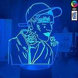 YOUPING 3D Ilusión lámpara led Luz de Noche Decoración Americana Rapero Lil Peep Colorido Regalo para Fans Celebridad