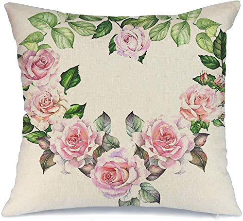 Decoration Linen Decorative Square Throw Pillow Cover Cushion Cover Heart Watercolor with Hearth Frame Flowers White Isolated Roses Blossom Botanical Leaves Nature Home Decor for Party 20x20 Inch