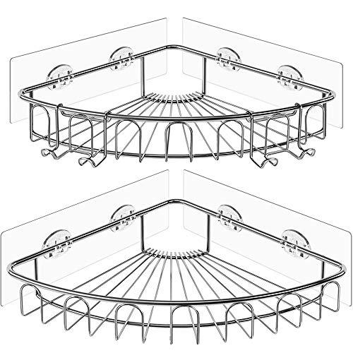 Orimade Eckablage Duschkörb Ablage Selbstklebend Wandablage Badezimmer Caddy SUS304 Edelstahl Badregal Ohne Bohren - 2 Stück