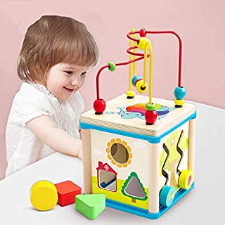 Wooden Activity Cube Beads Maze -5 activities in one Roller Coaster Beads Maze - Early Educational toys for Baby -Educatio...