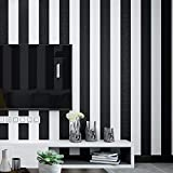 Black and White Stripes Wallpaper Non-self-Sticking No.18686