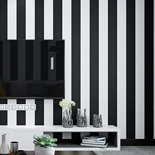 Removable Black and White Stripes Wallpaper No.18686