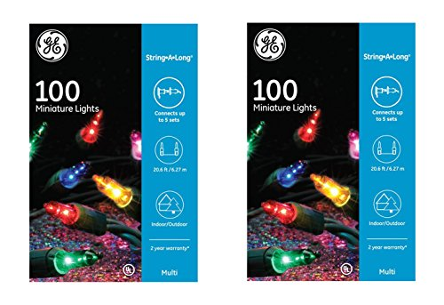 GE String A Long 100 Count Indoor/Outdoor Mini Multicolor Holiday Lights Set on Green Wire (2 Pack)