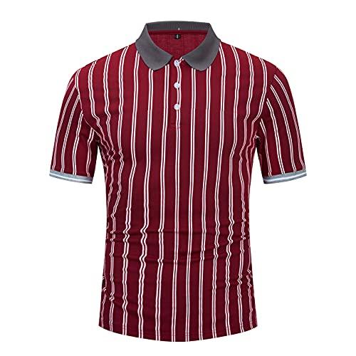 SSBZYES Camiseta para Hombre Camiseta De Verano De Manga Corta Camiseta Polo para Hombre Camiseta De Manga Corta a Rayas Botones Comerciales a Rayas Camiseta Polo para Hombre De Gran Tamaño