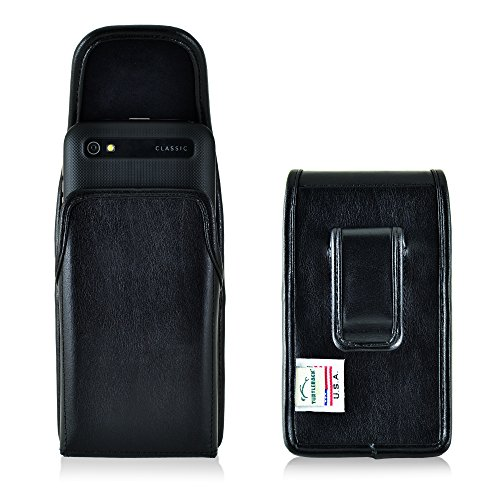 Turtleback Holster Made for BlackBerry Classic Q20 Black Vertical Belt Case Leather Pouch with Executive Belt Clip Made in USA