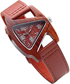 Wooden Watch Womens Watch Lightwight Black Wooden Wristwatch Unique Triangle Shape with Real Leather Band Quartz Wrist Watch Bracelet for Women and Men Watch Collector Gift