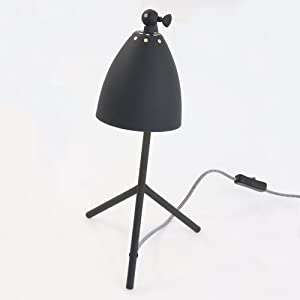 Tischleuchte Elin Industrial Schwarz Matt E14 Vintage Tischlampe Schreibtischlampe Leselampe im Industrie Design Retro Bürolampe Kinderzimmerlampe 7676ZW + Giveaway