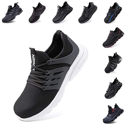 Zapatos de Seguridad Hombre Mujer con Punta de Acero Zapatillas de Trabajo Deportivo Calzado Ligeros Comodo Transpirables Unisex Negro-Blanco Talla 43 EU