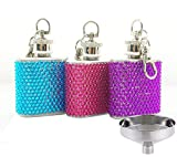 Flask Rhinestones Liquor Hip-Flask Womens - Mini 304 Stainless Steel with Funnel 3 Pack