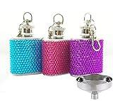 Stainless Steel Keychain Flask Heart-shaped Hip Flask (Bule+Rose+Purple, 1 OZ)