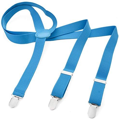 Bretelle per uomo e donna, a Y, con 3 Clip, Elasticizzate e Strette, tinta unita blu chiaro taglia unica