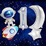 JeVenis Set of 5 Space First Birthday Party Decoration Outer Space First Birthday Balloons Space One Banner for Space Theme Baby Shower Trip to the Moon Party Rocket Ship Party