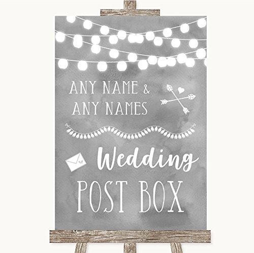 Bruidsbord Poster Print Grijs Aquarel Lights Card Post Box kan volledig worden aangepast elke tekst of kleur - Perfect Venue Decoratie (A4) Medium