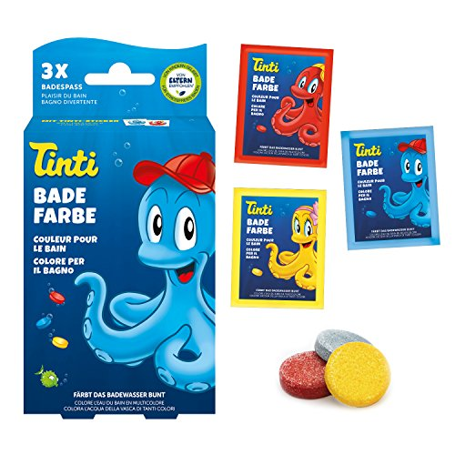 Tinti - Pintura para agua de baño (3 unidades, 1 azul, 1 amarillo, 1 rojo)