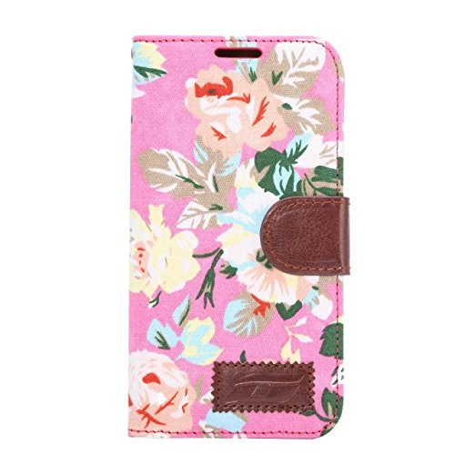 Apexel Calico Pattern Leather Cloth Flip Skin Cover Case with Card Slot and Stylus for Samsung Galaxy S6 Edge - Pink