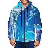 Sudadera con capucha para hombre con cremallera completa con capucha y diseño clásico con capucha, Magic Jellyfish Undersea World Black, XXXL