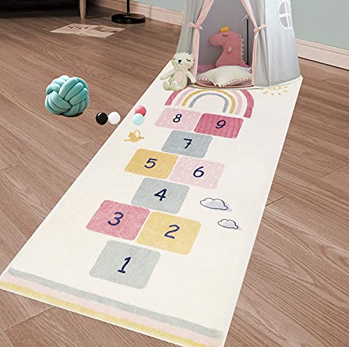 SHACOS Kinderteppich Baumwolle Weich Spiel-Teppich Für Kinderzimmer Waschbarer rutschfest Babyzimmer Krabbelunterlage Mädchen Jungen Spielmatte 80x160 cm
