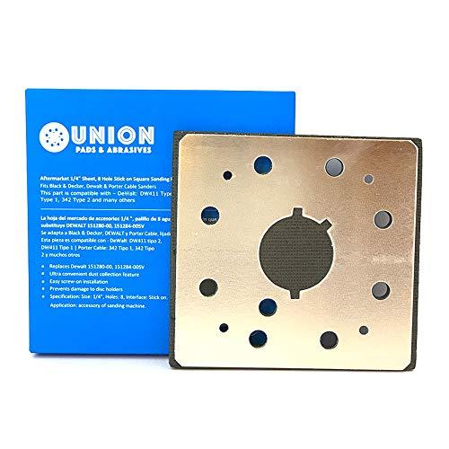 1/4 Sheet, 8 Hole Stick on Square Sanding Pad Replaces Dewalt 151280-00, 151284-00SV, Fits Black & Decker, Dewalt and Porter Cable Sanders