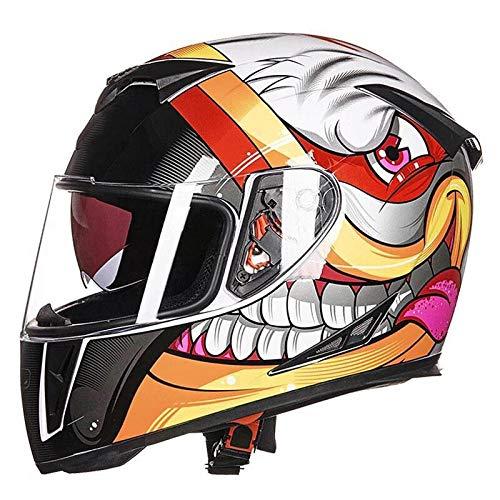 Motorhelm full-cover helm locomotief volledige helm anti-mist persoonlijkheid helm veiligheid licht gewicht L Helder wit graffiti