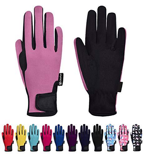 ChinFun Kids Horse Riding Gloves Child Winter Gloves Cycling Gloves Windproof Warm Gloves Perfect for Cycling Riding Running Skiing and Winter Outdoor Activities Pink Size S 6-8