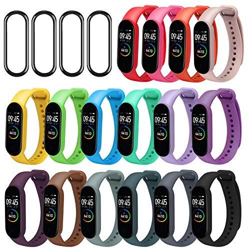 ivoler Correas Mi Band 5, 16 Piezas Pulsera para Xiaomi Mi Band 5 + 4 Piezas Protector Pantalla Correa de Repuesto Suave, Transpirable, Resistente al Sudor y Multicolor