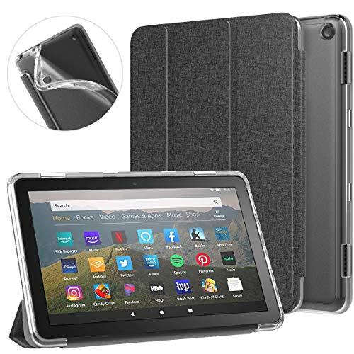 MoKo Funda Compatible con All-New Kindle Fire HD 8/HD 8 Plus Tablet(10th Generation, 2020 Release), Cubierta Inteligente Trasera Transparente Protectora Plegable con Función de Soporte de TPU, Negro