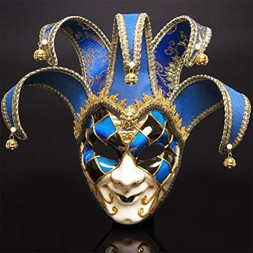 YLJYJ Veneciano Máscara, Carnaval Mascarada navideña Disfraz de Bola de fantasía Máscara Decoración de Disfraces de Halloween para los Adultos y Niños, Blue