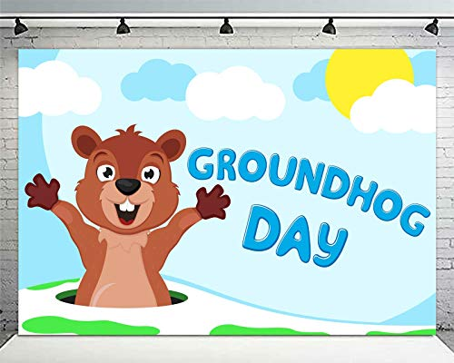 wongmode Cute Groundhog Banner Backdrop Happy Groundhog Day Theme Anniversary Party for Indoor Outdoor Decorations Supplies 4 x 6ft